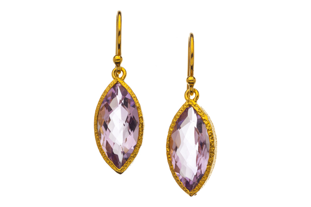 Rose Amethyst Marquise Drop Earrings in 24kt gold vermeil E034-RA