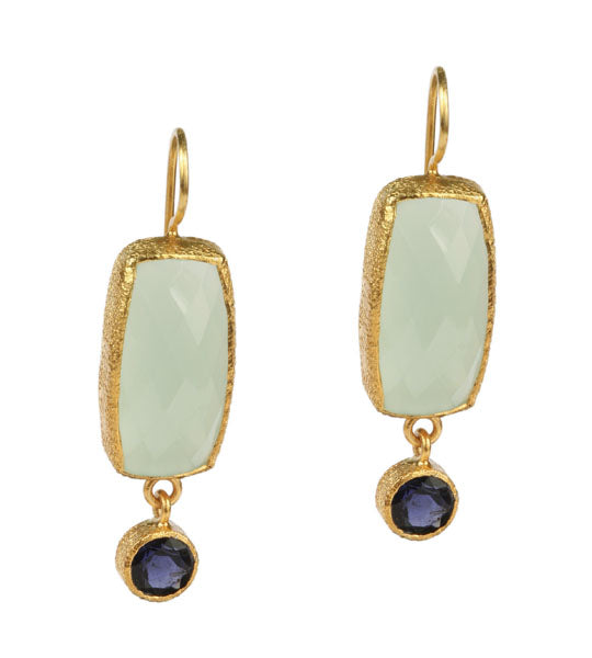 Chalcedony and Iolite Drop Earrings in 24kt gold vermeil E202-C-I