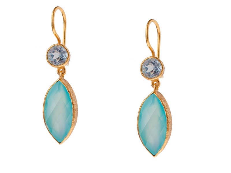 Blue Topaz and Marquise Chalcedony Drop Earrings in 24kt gold vermeil E205-BT-C
