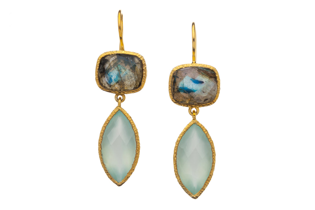 Labradorite and Chalcedony Drop Earrings E207-L