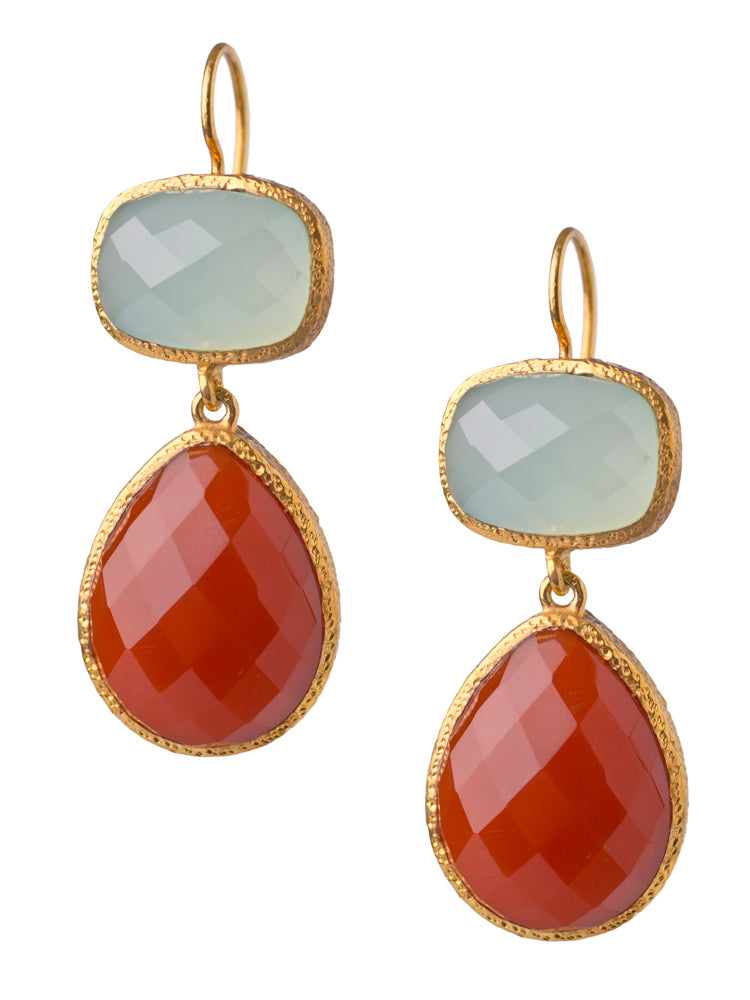 Chalcedony and Carnelian Drop Earrings in 24kt gold vermeil E208-C-C