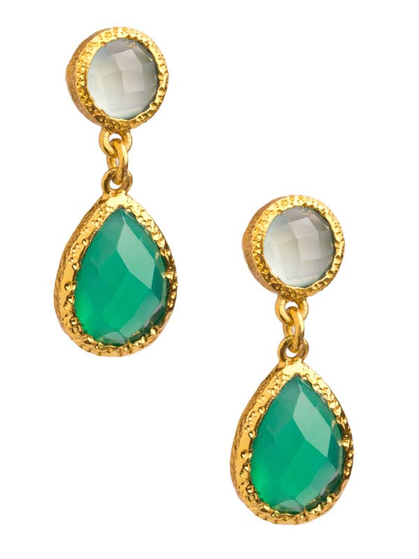 Green Onyx and Chalcedony Post Earrings in 24kt gold vermeil E224-GO