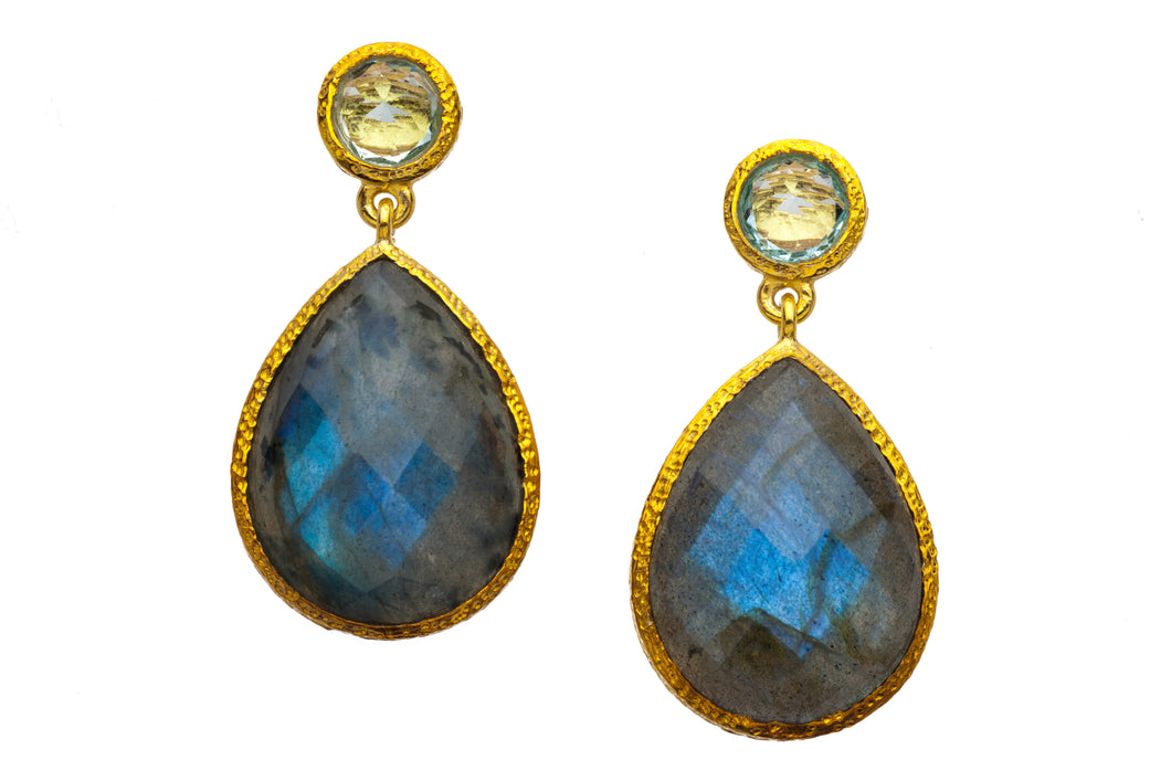 Blue Topaz and Labradorite Post Earrings in 24kt gold vermeil E238-BT-L