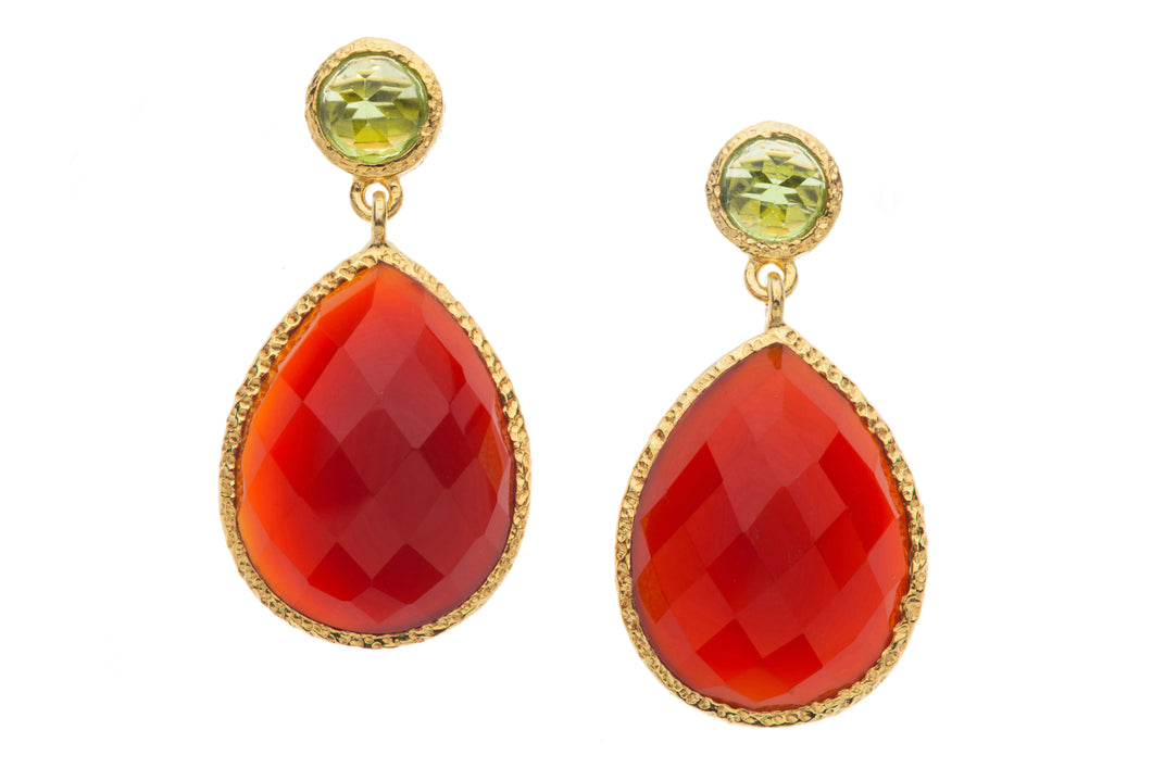 Peridot and Carnelian Post Earrings in 24kt gold vermeil  E238-P