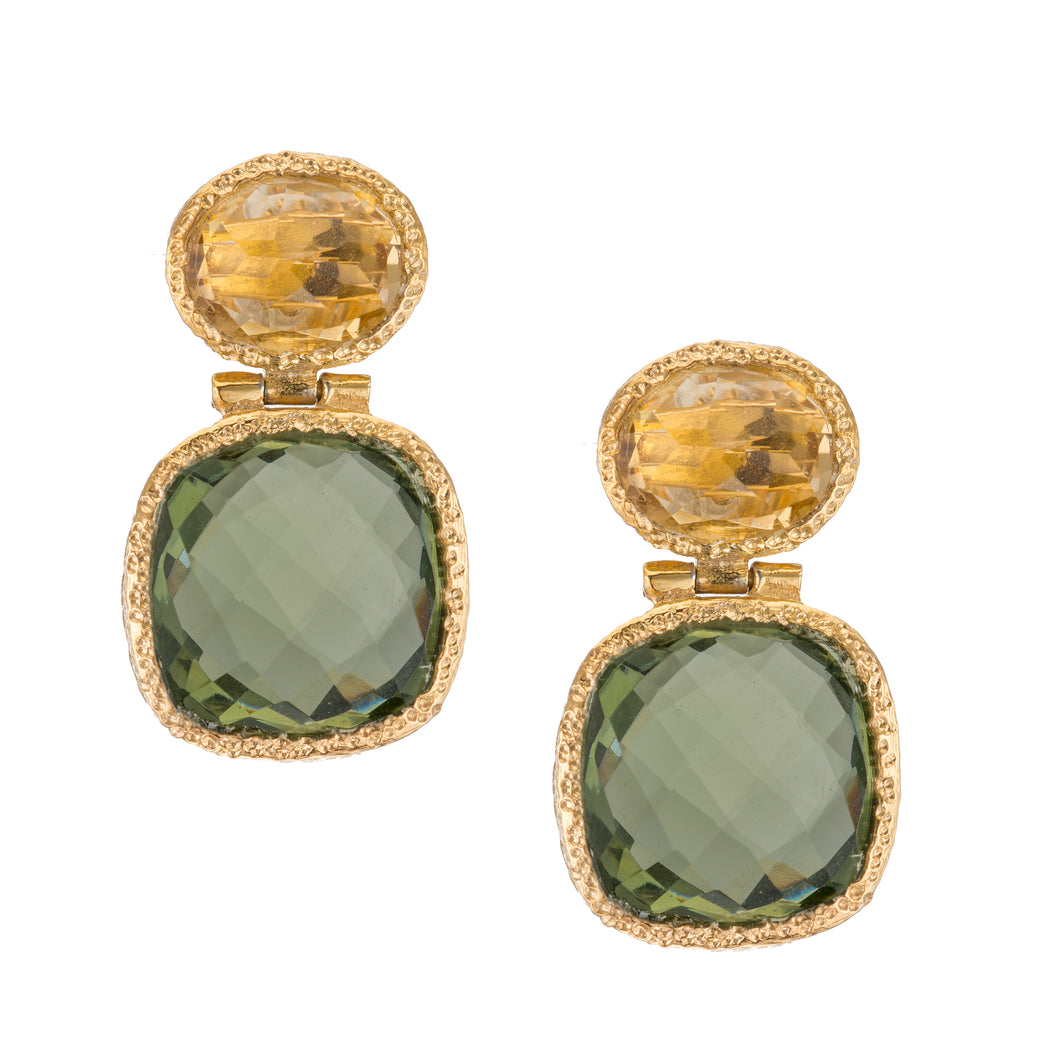 Citrine and Green Amethyst Post Earrings in 24kt gold vermeil E254-C-GA