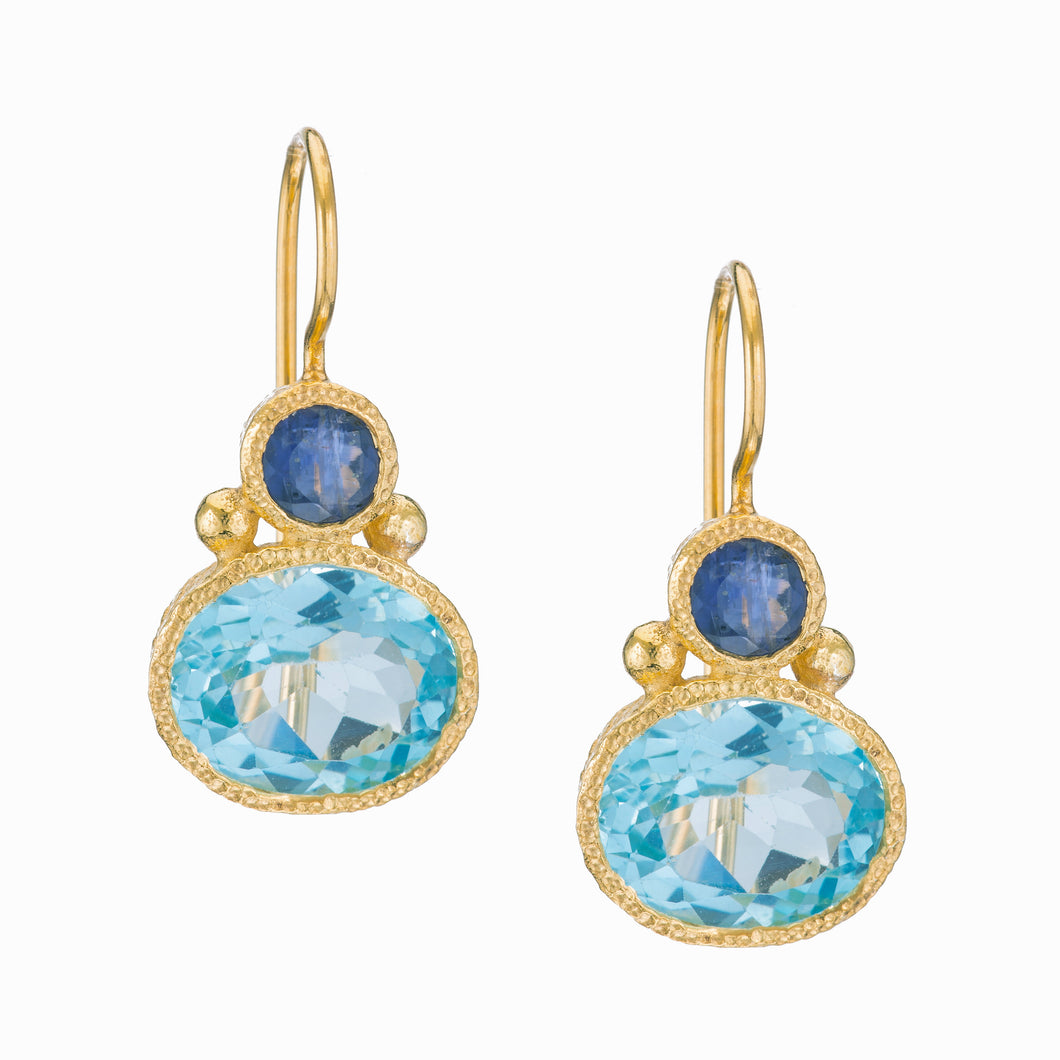 Iolite and Blue Topaz Drop Earrings in 24kt gold vermeil E257