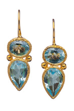 Load image into Gallery viewer, Chalcedony Gemstone Drop Earrings in 24kt gold vermeil E261-C