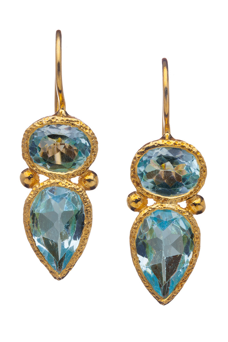 Blue Topaz Drop Earrings in 24kt gold vermeil E261-B
