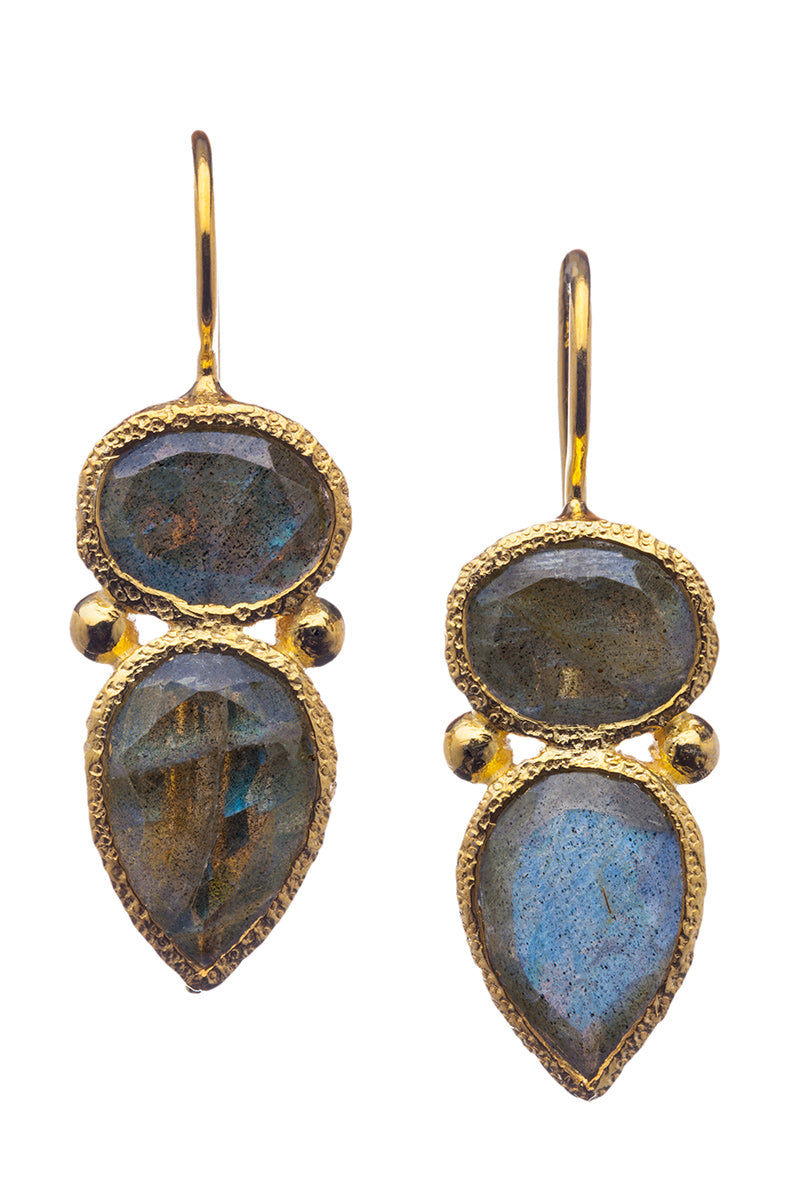Chalcedony Gemstone Drop Earrings in 24kt gold vermeil E261-C