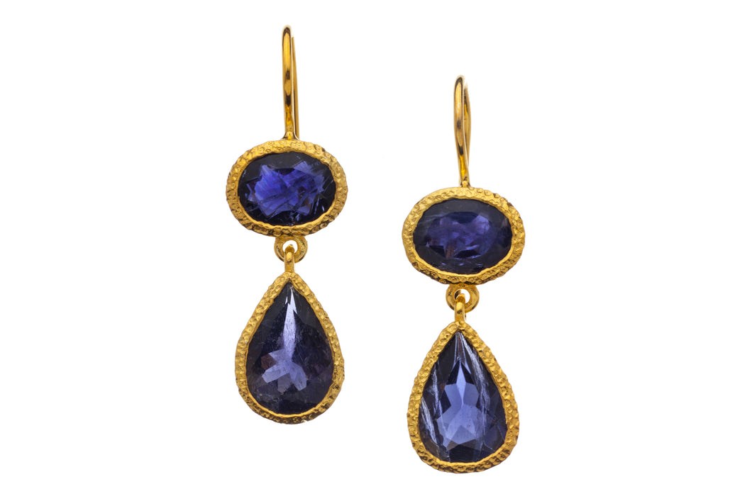 Iolite Two-Gemstone Drop Earrings in 24kt gold vermeil E262-I