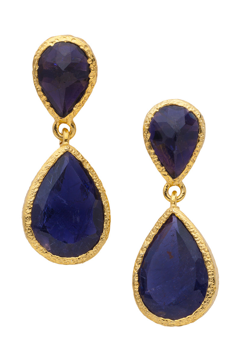 Iolite Dangling Post Earrings in 24kt gold vermeil E263-I