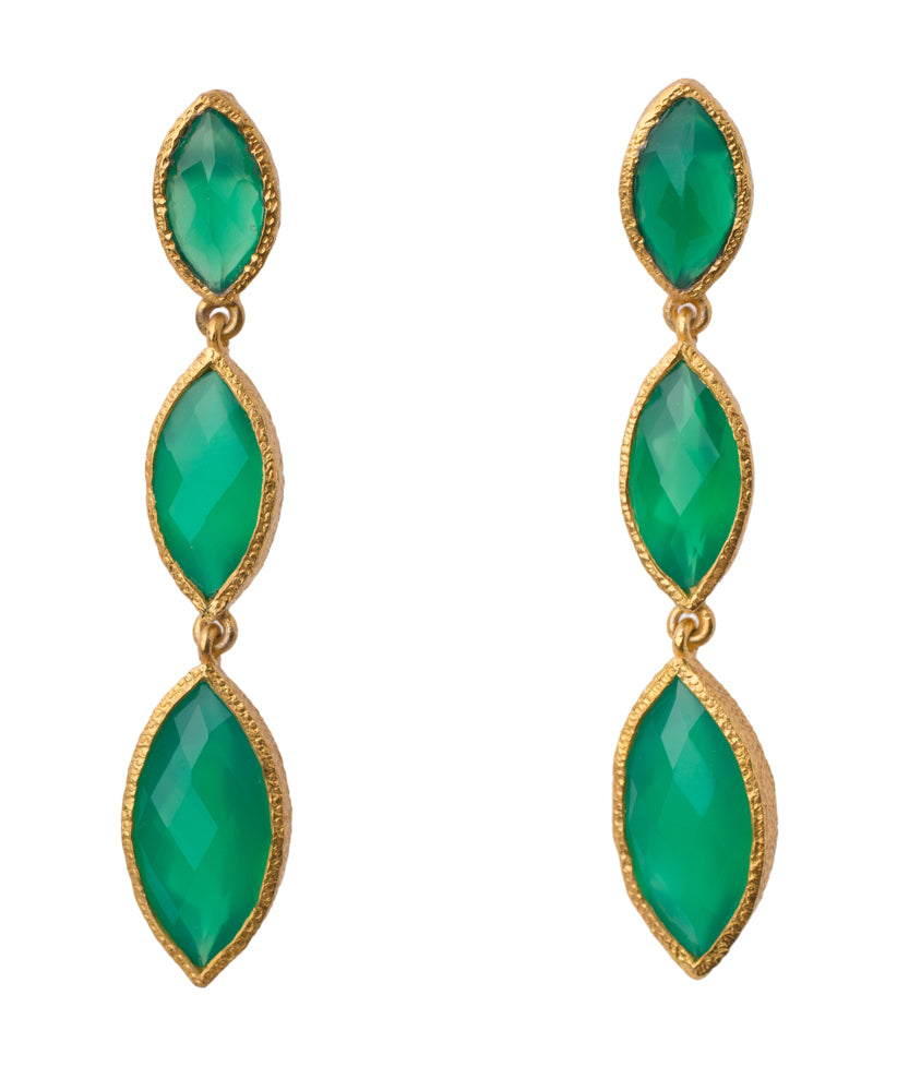 Green Onyx Marquise Dangling Post Earring in 24kt gold vermeil E312-GO