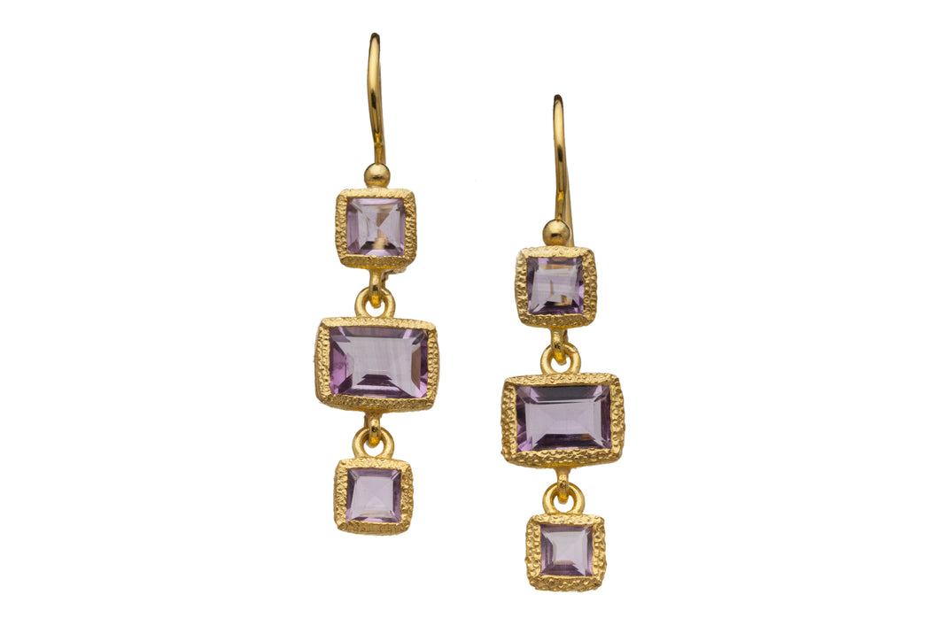 Rose Amethyst Three-Gemstone Drop Earrings in 24kt gold vermeil E316-RA