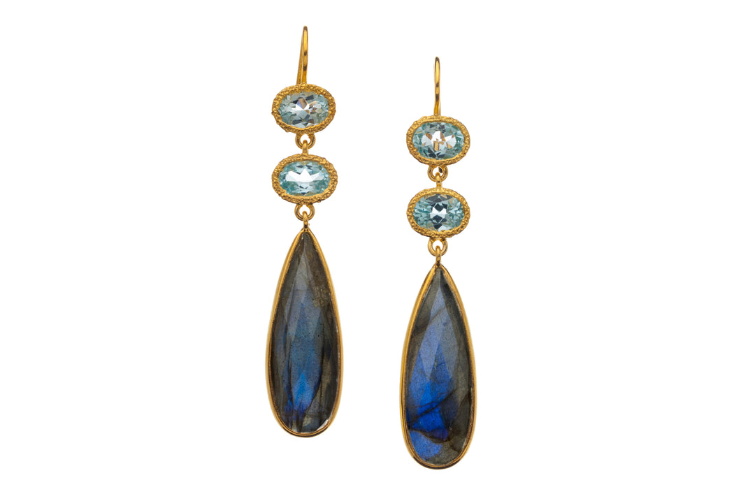 Blue Topaz and Labradorite Long Drop Earrings in 24kt gold vermeil E320-BT