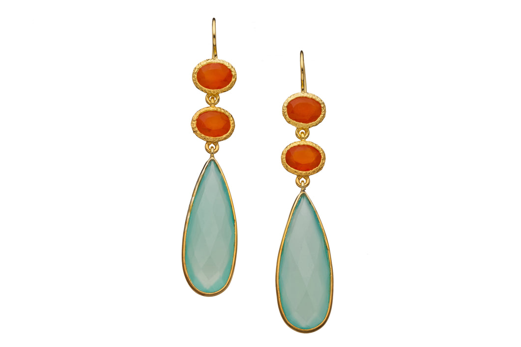 Carnelian and Chalcedony Gemstone Long Drop Earrings in 24kt gold vermeil E320-CC