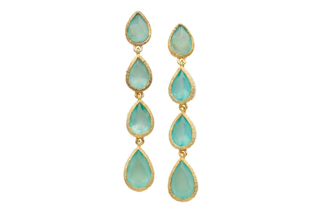 Chalcedony Four Gemstone Long Post Earrings in 24kt gold vermeil E404-C