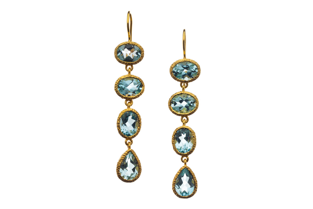 Blue Topaz 4-stone Long Drop Earrings in 24kt gold vermeil E406-BT