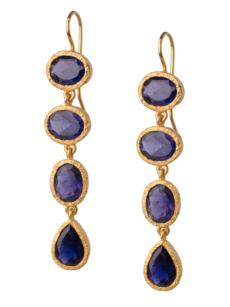 Iolite Gemstone Drop Earrings in 24kt gold vermeil E406-I