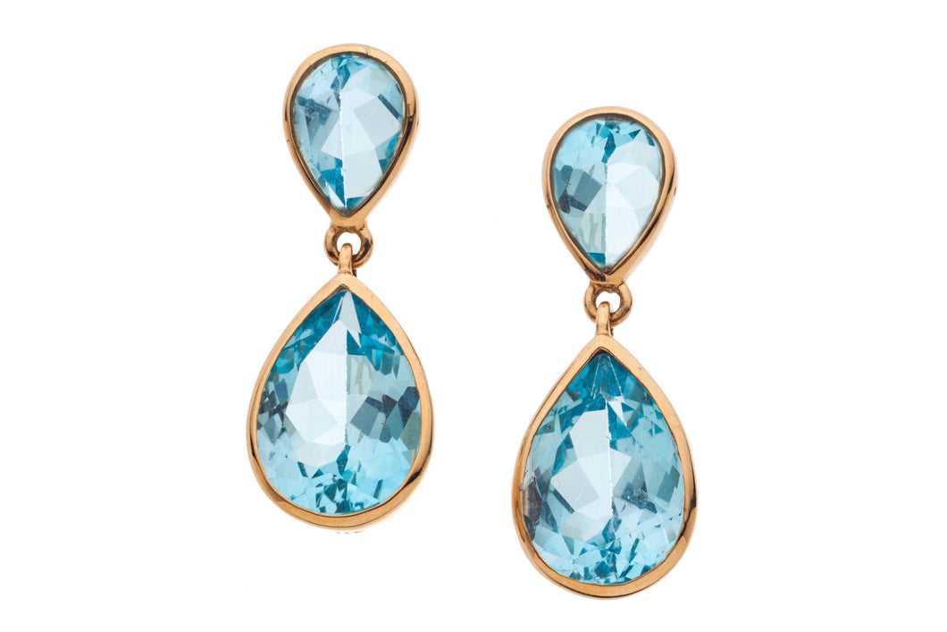 Blue Topaz Dangling Post Earrings in genuine 14kt Rose Gold GDE533-BT