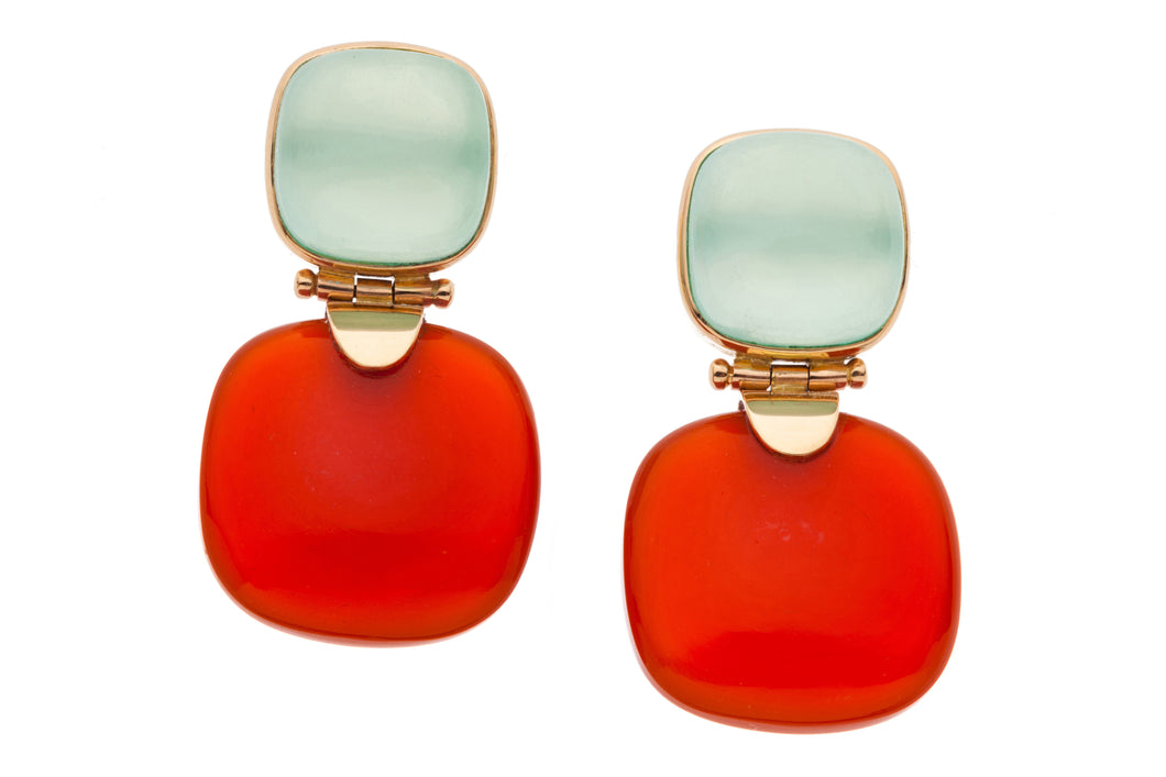Chalcedony and Carnelian Post Earrings in genuine 14kt Rose Gold GDE516-CC