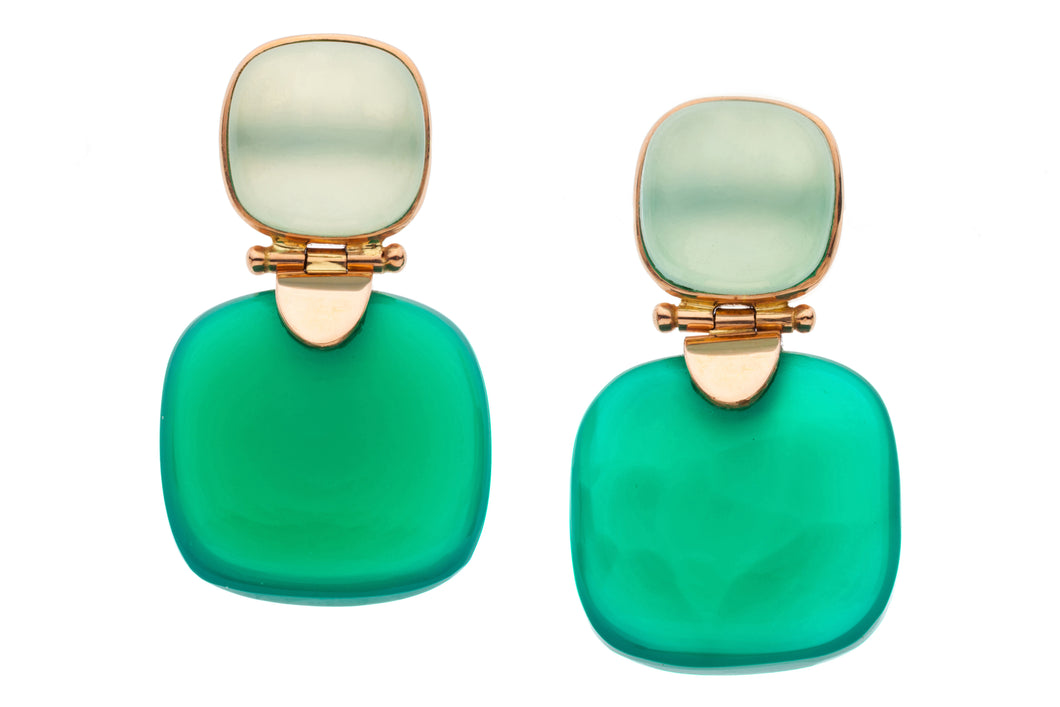 Chalcedony and Green Onyx Post Earrings in genuine 14kt Rose Gold GDE516-CG