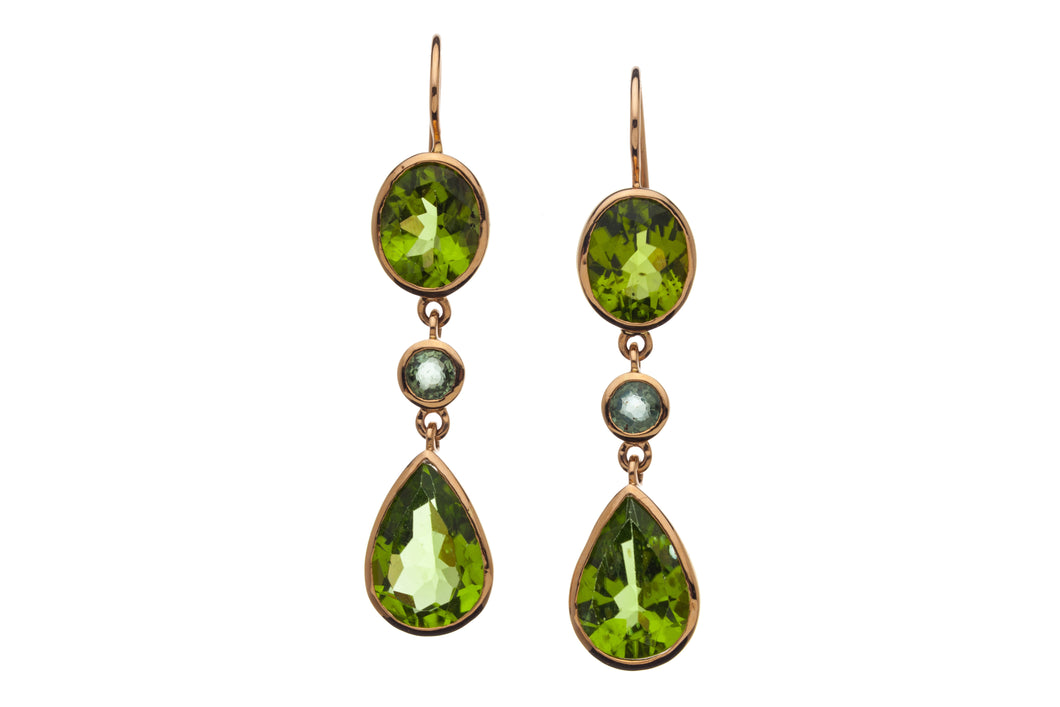 Handmade Peridot and Green Sapphire Earrings in genuine 14kt Rose Gold GDE530