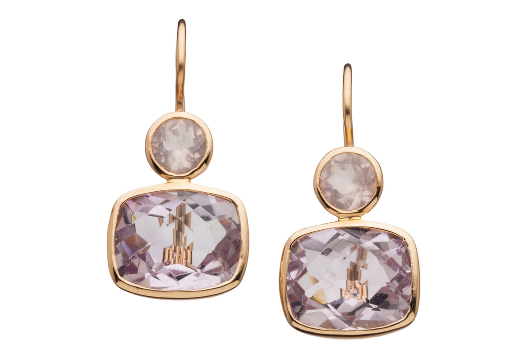 Rose Quartz and Rose Amethyst Earrings in genuine 14kt Rose Gold  GDE532