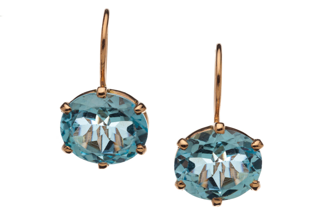 Blue Topaz Drop Earrings in genuine 14kt Rose Gold - GDE536