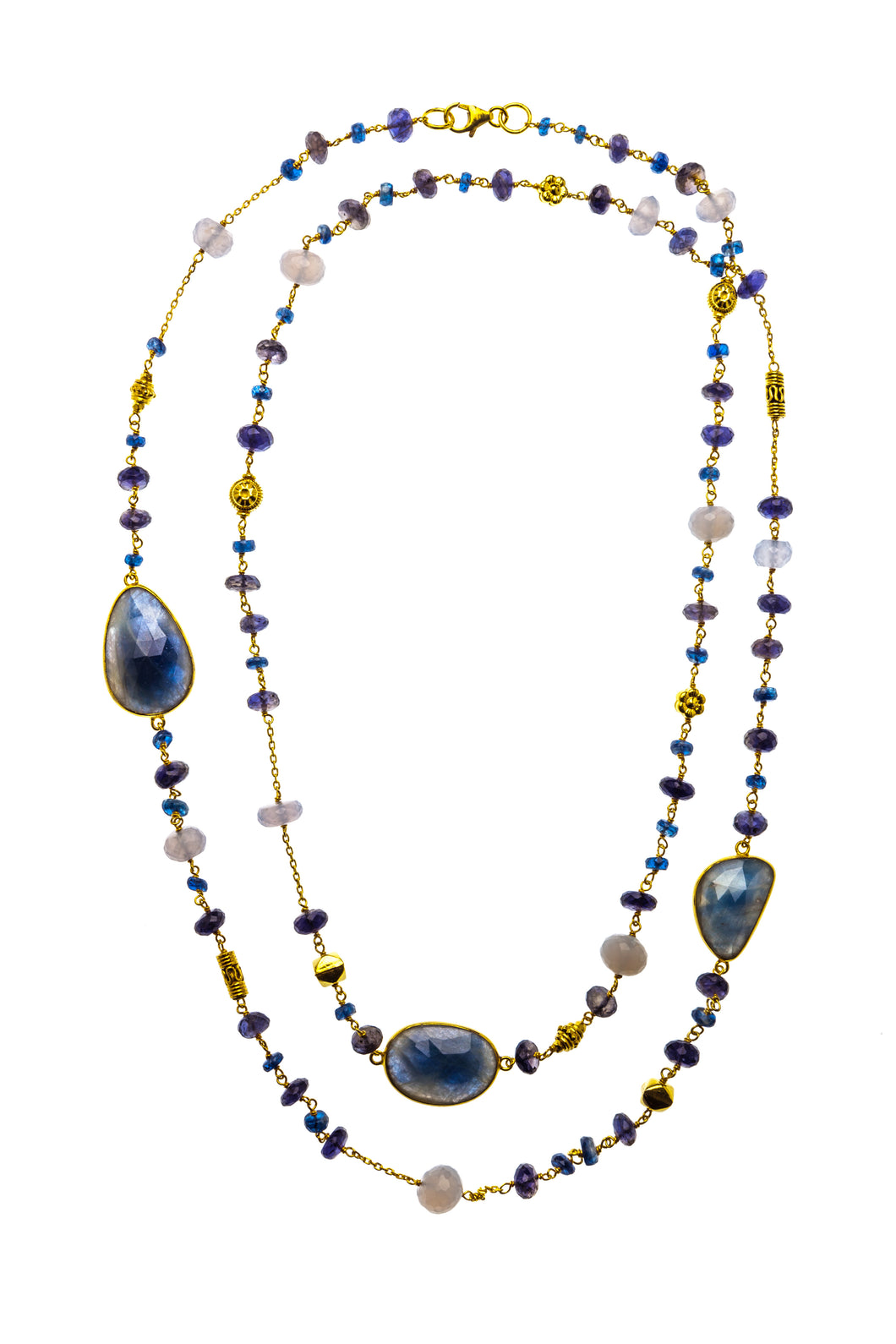 40-inch Gemstone Necklace with Brilliant Blue Sapphire Slices in 24kt gold vermeil N004-K