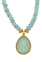 Load image into Gallery viewer, Aqua Marine faceted gemstone necklace with Chalcedony pendant in 24kt gold vermeil NF002-AM
