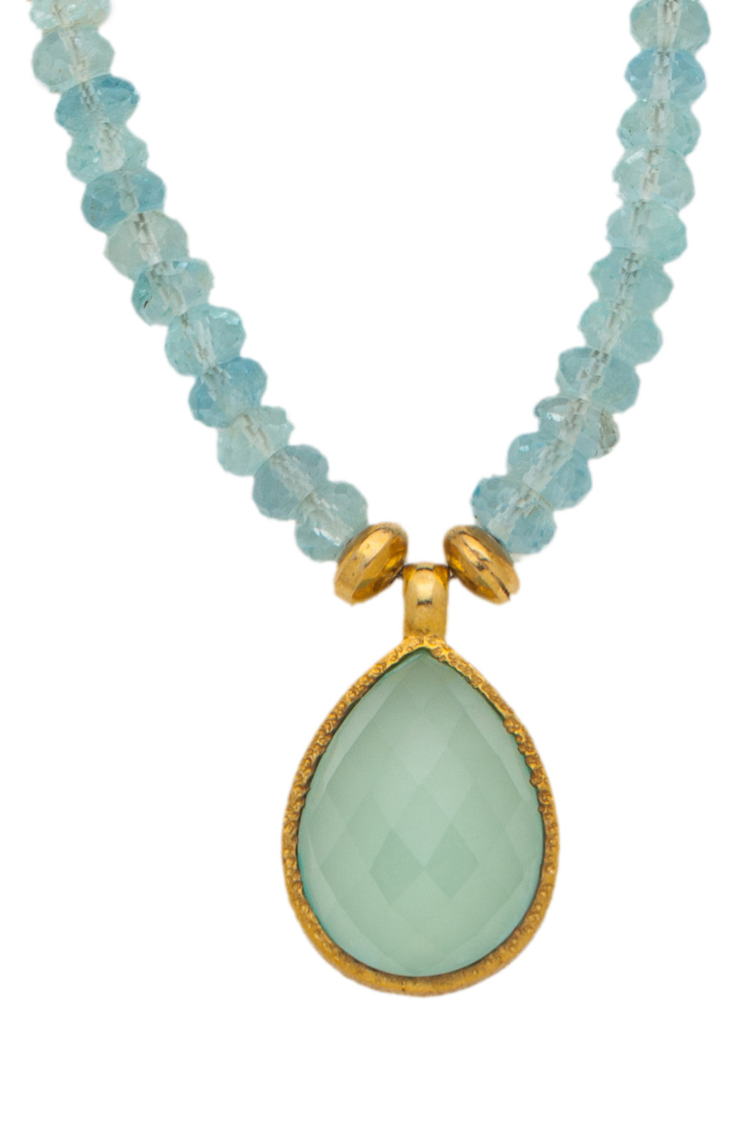 Aqua Marine faceted gemstone necklace with Chalcedony pendant in 24kt gold vermeil NF002-AM