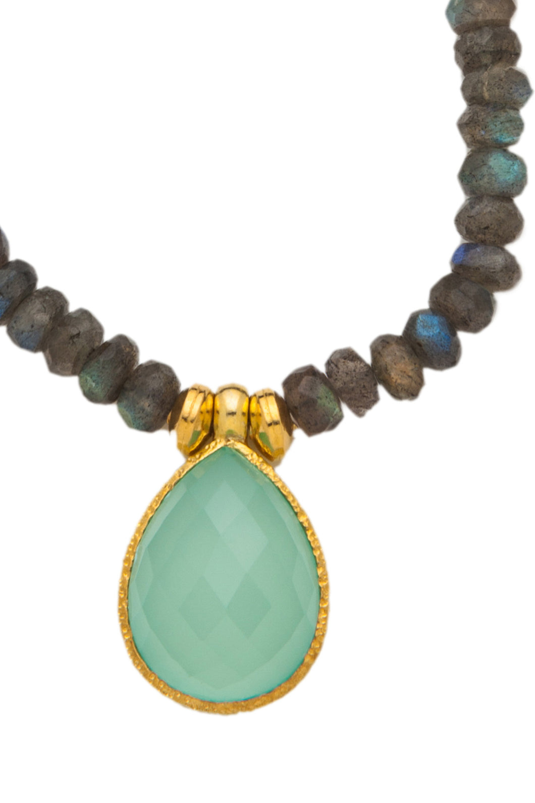 Labradorite Necklace with Chalcedony Pendant in 24kt gold vermeil NF002-LC