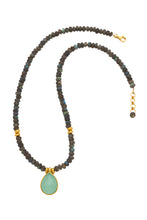 Load image into Gallery viewer, Labradorite Necklace with Chalcedony Pendant in 24kt gold vermeil NF002-LC