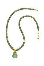 Load image into Gallery viewer, Green Kyanite Necklace with a Peridot and Chalcedony Pendant in 24kt gold vermeil NF003-GK