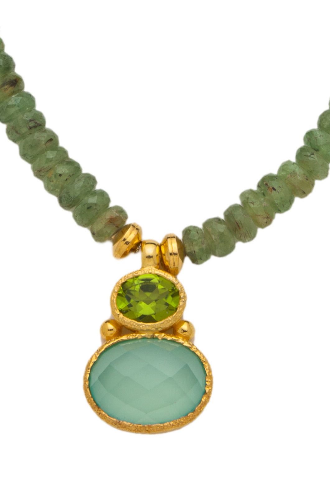 Green Kyanite Necklace with a Peridot and Chalcedony Pendant in 24kt gold vermeil NF003-GK