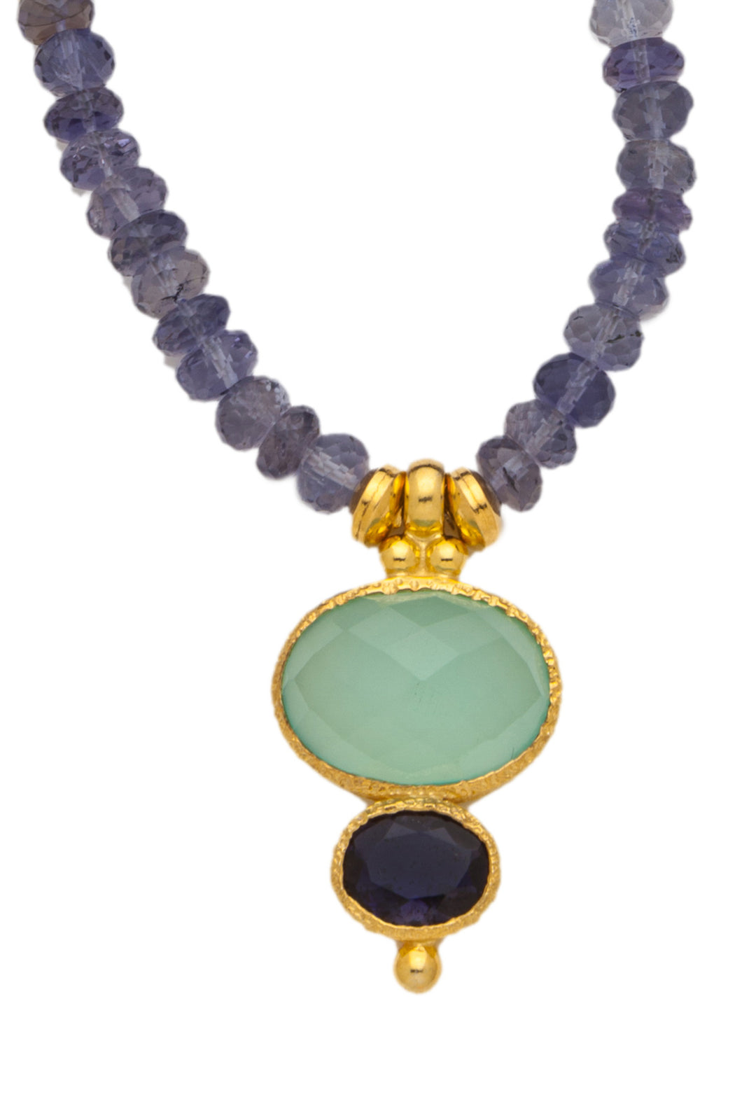 Iolite Necklace with a Chacedony and Iolite Pendant set in 24kt gold vermeil NF079-ICI