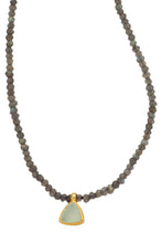 Load image into Gallery viewer, Labradorite faceted gemstone necklace with handmade pendant of Chalcedony set in 24kt gold vermeil NF188-LC