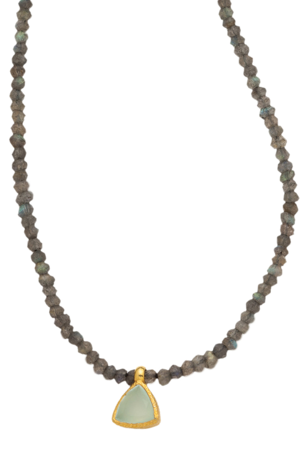 Labradorite faceted gemstone necklace with handmade pendant of Chalcedony set in 24kt gold vermeil NF188-LC