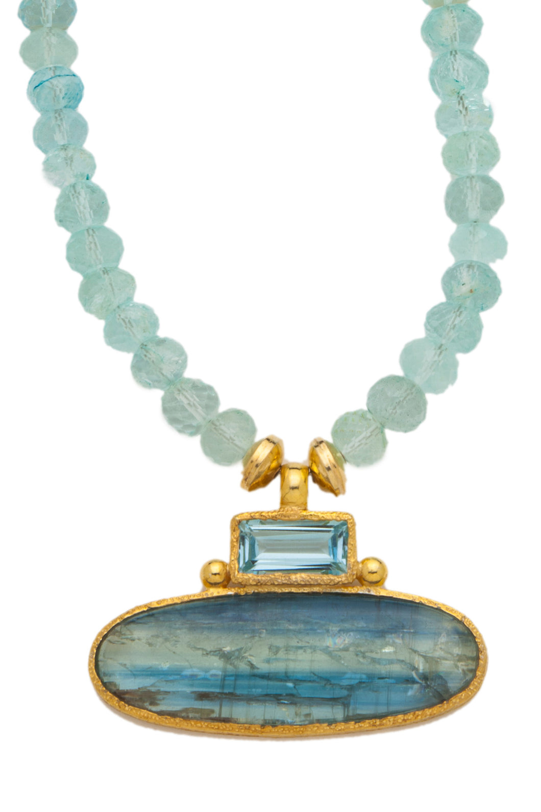 ONE OF A KIND Aqua Marine Necklace with Blue Topaz and Kyanite Pendant set in 24kt gold vermeil NF277-AM-BT