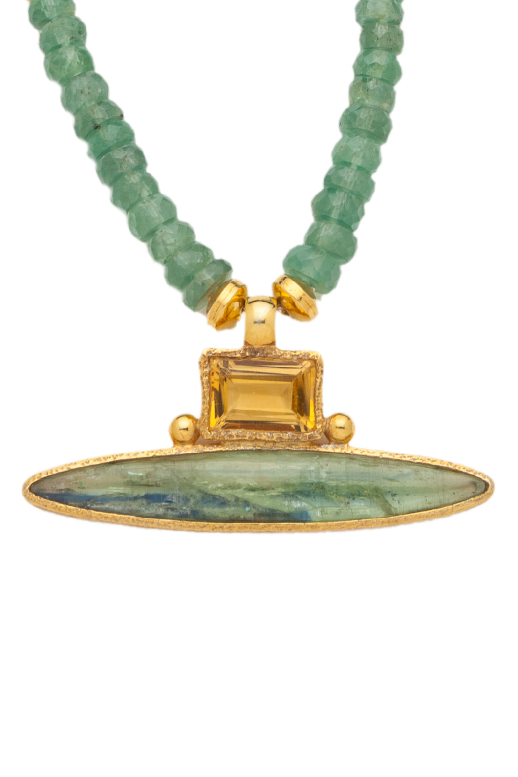 ONE OF A KIND Green Kyanite Necklace with Citrine and Green Kyanite Pendant set in 24kt gold vermeil NF280