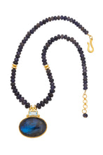 Load image into Gallery viewer, ONE OF A KIND Iolite Necklace with Blue Topaz and Labradorite Pendant set in 24kt gold vermeil  NF281-IBTL