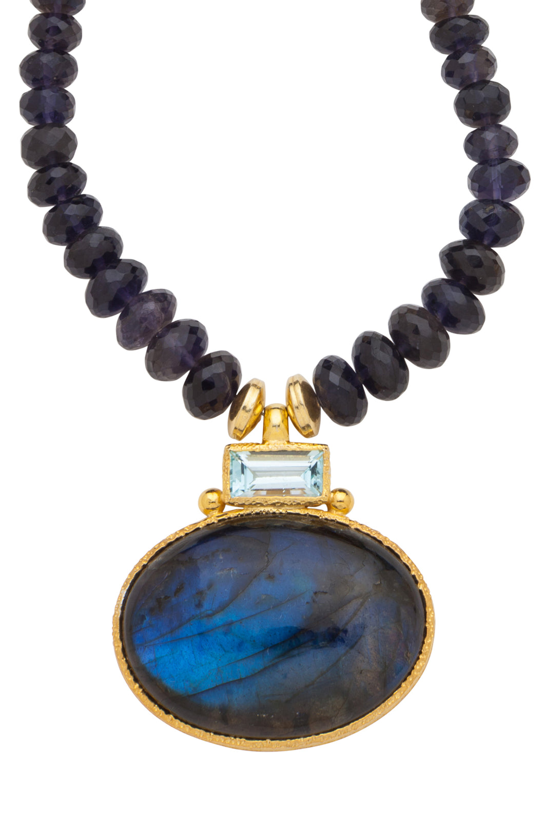 ONE OF A KIND Iolite Necklace with Blue Topaz and Labradorite Pendant set in 24kt gold vermeil  NF281-IBTL