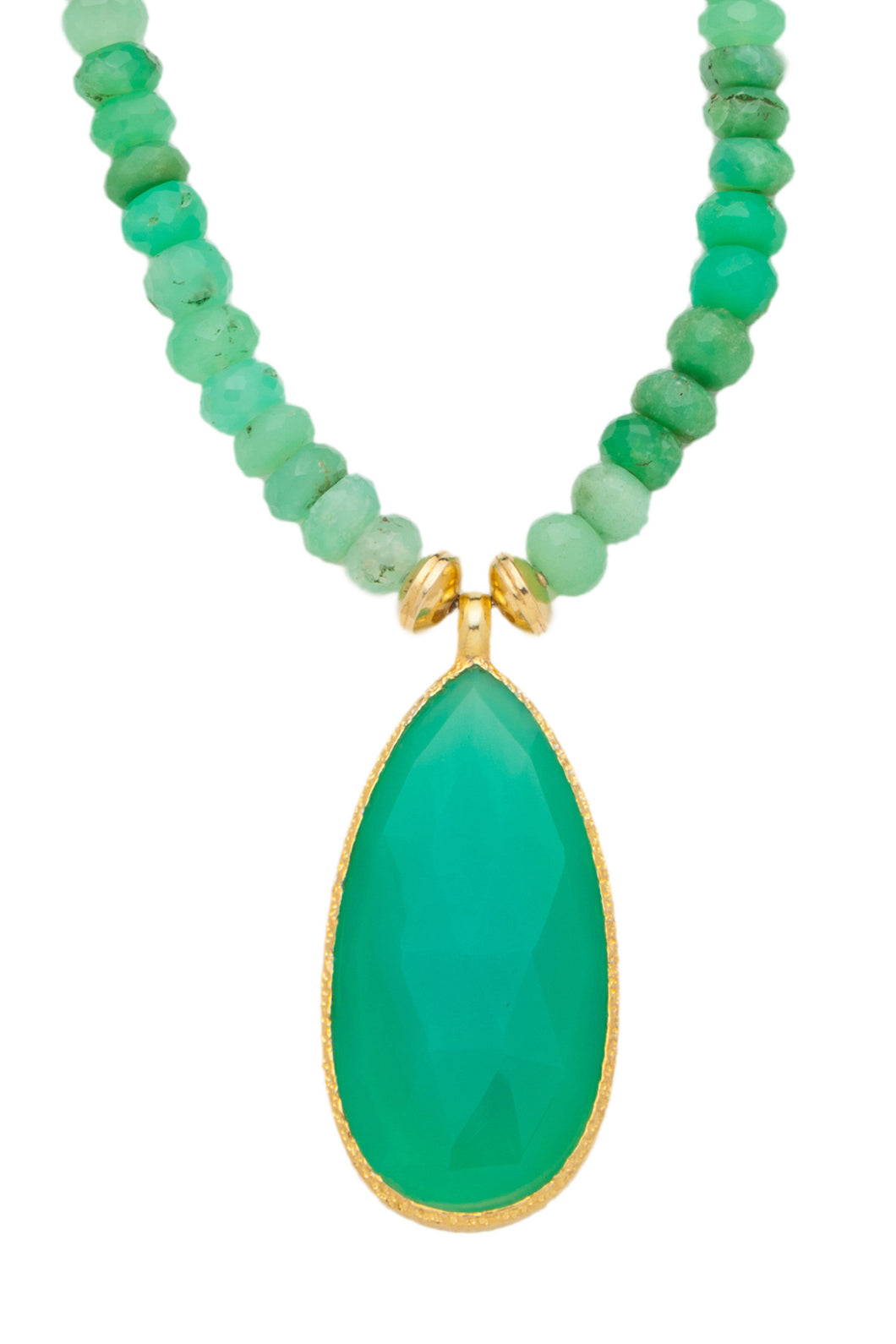 ONE OF A KIND Green Chrysoprase Necklace with Teardrop Pendant set in 24kt gold vermeil  NF291