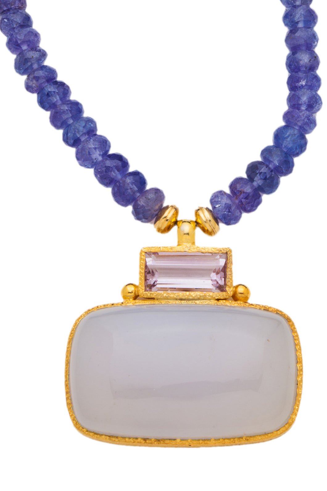 ONE OF A KIND Tanzanite Necklace with Rose Amethyst and Chalcedony Pendant set in 24kt gold vermeil  NF292-Tanz