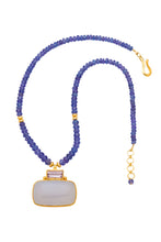 Load image into Gallery viewer, ONE OF A KIND Tanzanite Necklace with Rose Amethyst and Chalcedony Pendant set in 24kt gold vermeil  NF292-Tanz