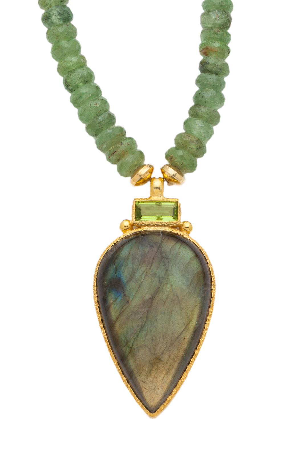 ONE OF A KIND Green Kyanite Necklace with Peridot and Labradorite Pendant set in 24kt gold vermeil  NF301-GKPL