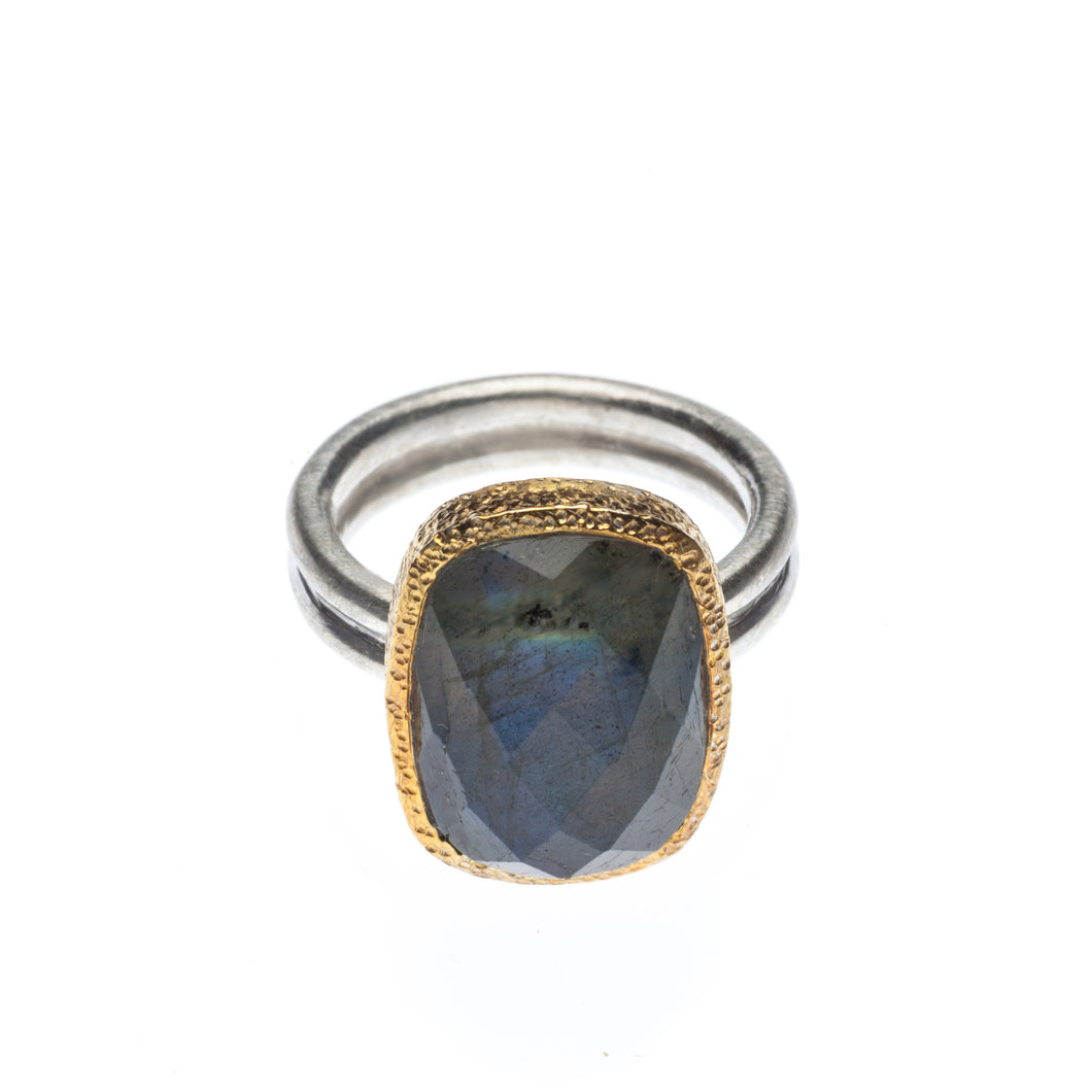 Oval Labradorite Ring set in hammered 24kt gold vermeil, with a sterling silver ring R406-L