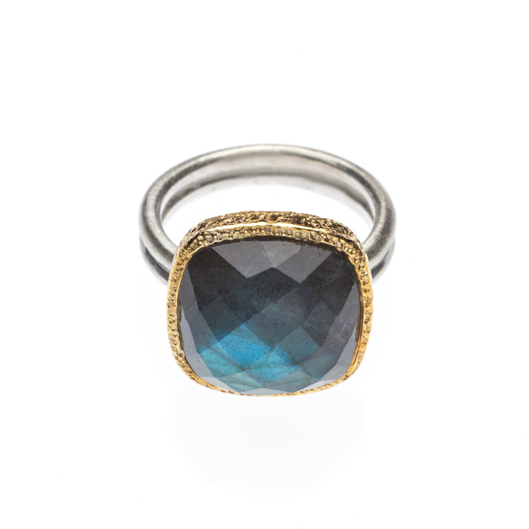 Faceted Labradorite Ring set in hammered 24kt gold vermeil, with a sterling silver ring.  R408-L