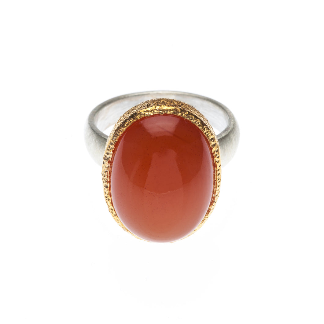 One of a kind red oval Carnelian Ring set in 24kt gold vermeil with sterling silver ring - R414-C