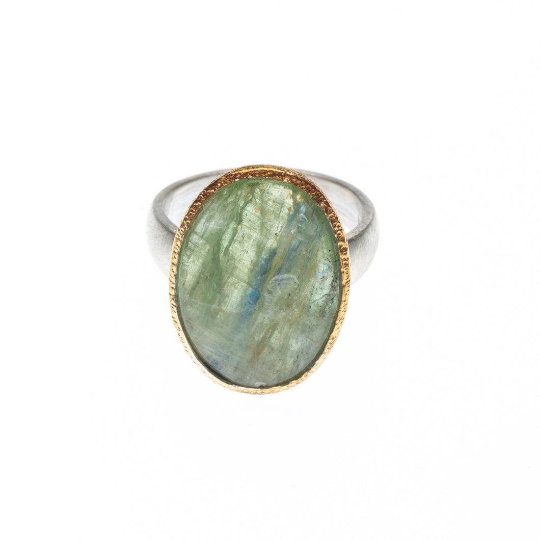 One of a kind Green Kyanite Ring set in 24kt gold vermeil with a sterling silver ring - R414-GK